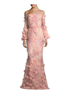 NOTTE BY MARCHESA Off-The-Shoulder 3d Floral Mermaid Evening Gown