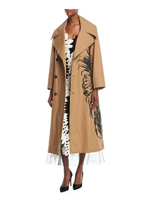 OSCAR DE LA RENTA Fern-Embroidered Trenchcoat
