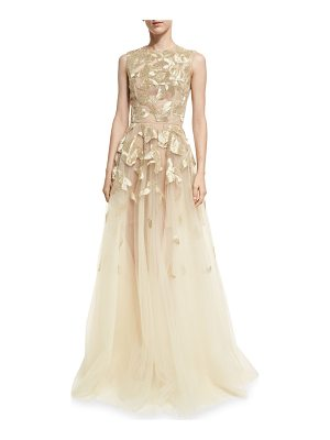OSCAR DE LA RENTA Sleeveless Wire-Embroidered Tulle Gown