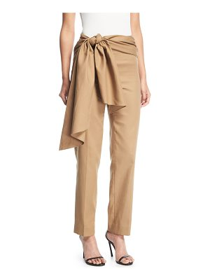 Oscar de la Renta Wrap Waist Tapered Ankle Cotton Pants