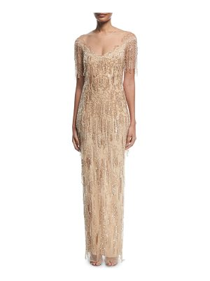 PAMELLA ROLAND Beaded-Fringe Column Evening Gown