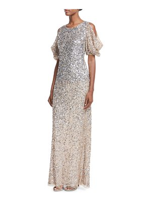 Parker Black Luna Cold-Shoulder Sequin Gown