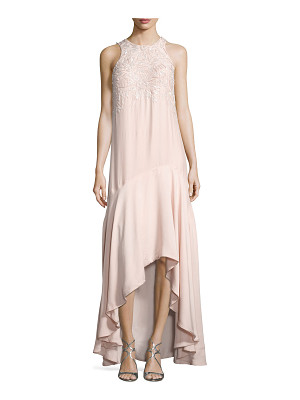 Parker Mimi Sleeveless Beaded High-Low Gown