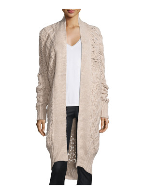 Prabal Gurung Belted Cable-Knit Cashmere Long Cardigan