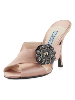 PRADA Jeweled Satin 100mm Slide Sandal