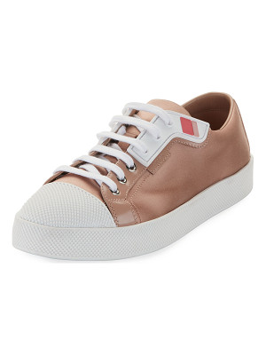 PRADA LINEA ROSSA Satin Lace-Up Two-Tone Low-Top Sneaker