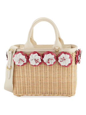 Prada Small Flowers Raffia Basket Bag
