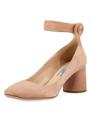 PRADA Suede Block-Heel Ankle-Wrap Pump