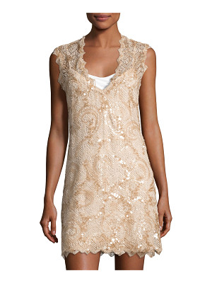 QUEEN & PAWN Saria Sequined Lace Coverup Dress