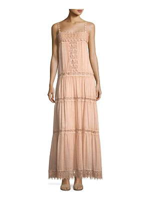 Queen & Pawn Square-Neck Sleeve Cotton-Silk Maxi Dress with Lace Details