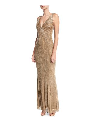 Rachel Gilbert Beaded Illusion V-Neck Gown