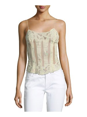 RALPH LAUREN COLLECTION Pauline Spaghetti-Strap Sheer Embroidered Tank