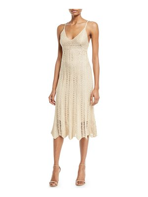 RALPH LAUREN COLLECTION Sleeveless V-Neck Crochet Camisole Midi Dress