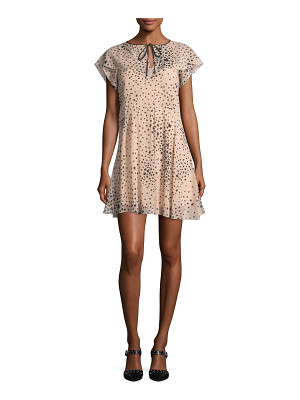 RED VALENTINO Cape-Sleeve Stardust-Print Stretch-Silk Dress