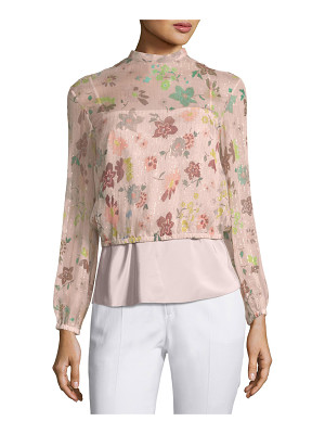Red Valentino Long-Sleeve Sheer Floral-Print Lurex® Combo Blouse
