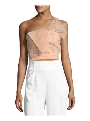 REDValentino One-Shoulder Bow Faille Top