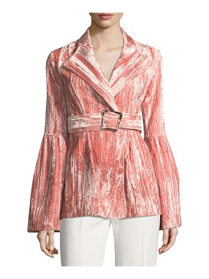 REJINA PYO Claire One-Button Belted Bonded Velvet Jacket