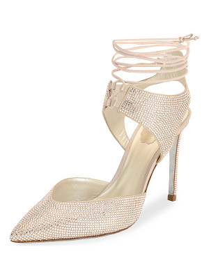 Rene Caovilla Crystal Beaded Satin Ankle-Tie Pump