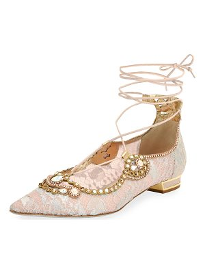 RENE CAOVILLA Embellished Lace Ankle-Tie Flat