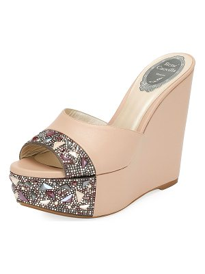 RENE CAOVILLA Embellished Leather Wedge Slide Sandal
