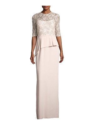 RICKIE FREEMAN FOR TERI JON Lace Bodice Peplum Column Gown