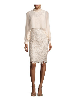 Rickie Freeman for Teri Jon Long-Sleeve Floral Lace Cocktail Dress