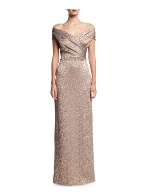 RICKIE FREEMAN FOR TERI JON Off-The-Shoulder Metallic Jacquard Evening Gown