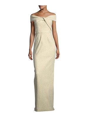 Rickie Freeman for Teri Jon Off-the-Shoulder Metallic Jacquard Gown