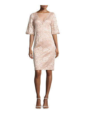 Rickie Freeman for Teri Jon Short-Sleeve Floral Lace Cocktail Dress