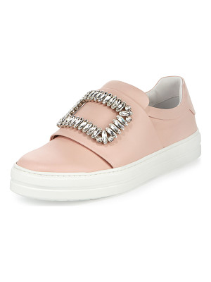ROGER VIVIER Leather Strass Buckle Sneaker
