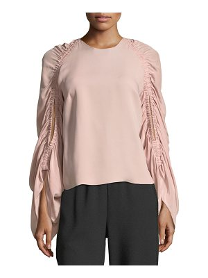 Roksanda Round-Neck Ruched-Sleeve Silk Top