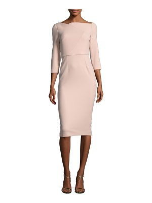 Roland Mouret Boat-Neck 3/4-Sleeve Sheath Dress