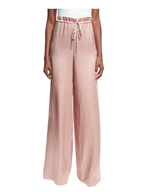 SACHIN & BABI Rao High-Waist Drawstring Wide-Leg Satin Pants
