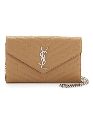 SAINT LAURENT Grain De Poudre Calfskin Wallet On Chain