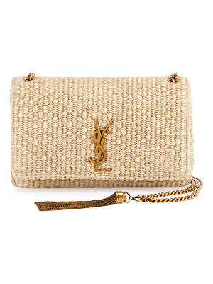 SAINT LAURENT Kate Monogram Medium Raffia Chain Shoulder Bag
