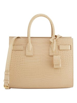 SAINT LAURENT Sac De Jour Baby Croc-Embossed Leather Satchel Bag