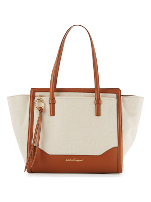 SALVATORE FERRAGAMO Amy Medium Canvas Tote Bag