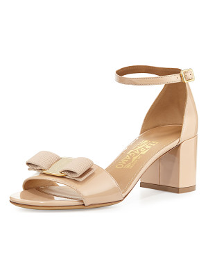 Salvatore Ferragamo Gavina Bow Patent City Sandals