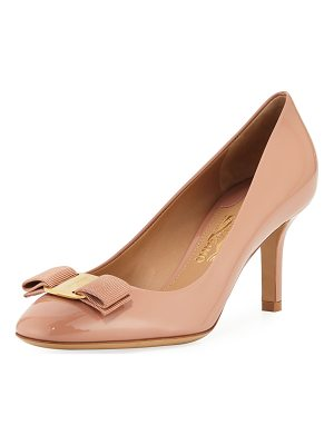 SALVATORE FERRAGAMO Erice70 Vara Bow Patent 70mm Pump