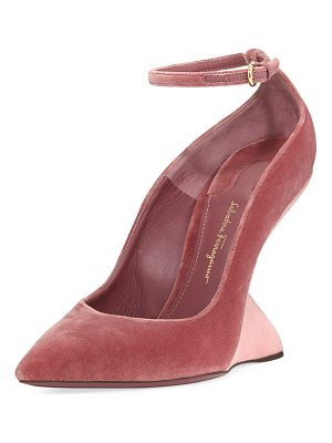 Salvatore Ferragamo Arsina 105 Velvet Wedge Pumps