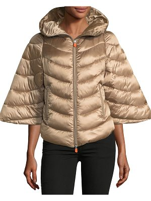 SAVE THE DUCK Iris Quilted Puffer Zip-Front Hooded Poncho