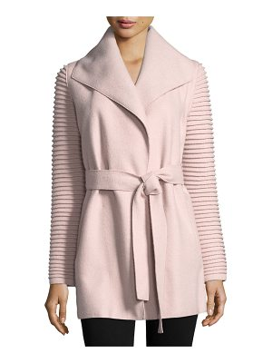 SENTALER Superfine Alpaca Wrap Coat W/ Ribbed Sleeves
