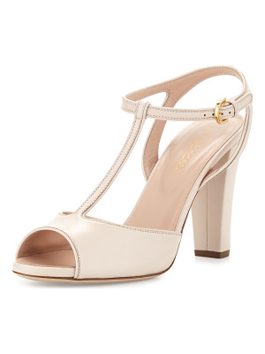 Sergio Rossi Peep-Toe Leather T-Strap Sandal