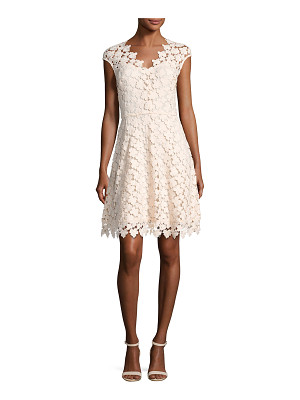 SHOSHANNA Buchanan Cap-Sleeve Floral Lace Dress