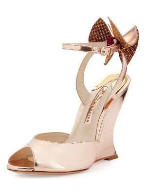 Sophia Webster Rizzo Bow Metallic Wedge Sandal