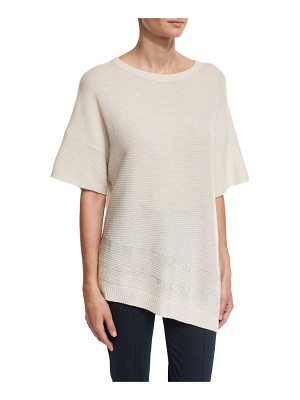 St. John Collection Cashmere Bateau-Neck Half-Sleeve Sweater