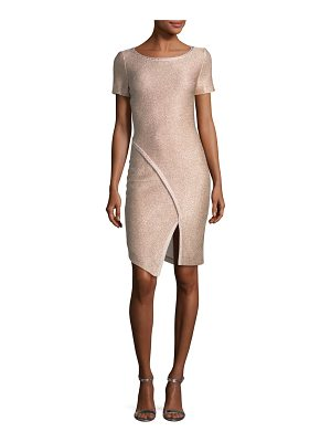 St. John Frosted Metallic Knit Cocktail Dress