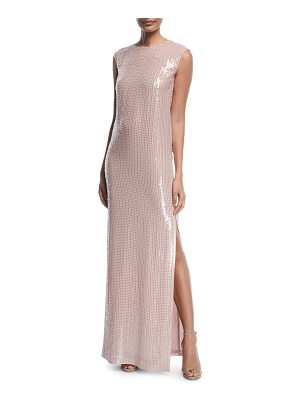 St. John Sleeveless Hand-Beaded Column Gown