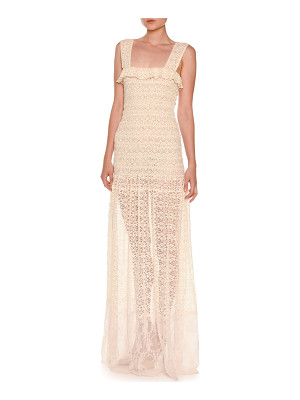 Stella McCartney Sleeveless Smocked Lace Gown