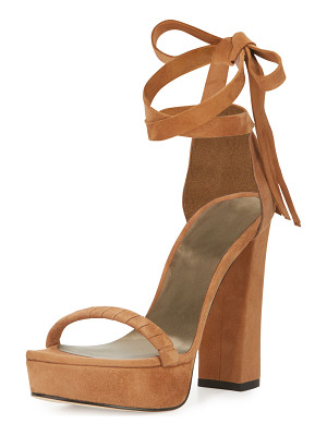 STUART WEITZMAN Craft Suede Lace-Up Platform Sandal